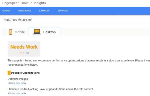 weboldal sebesség teszt caching plugin után