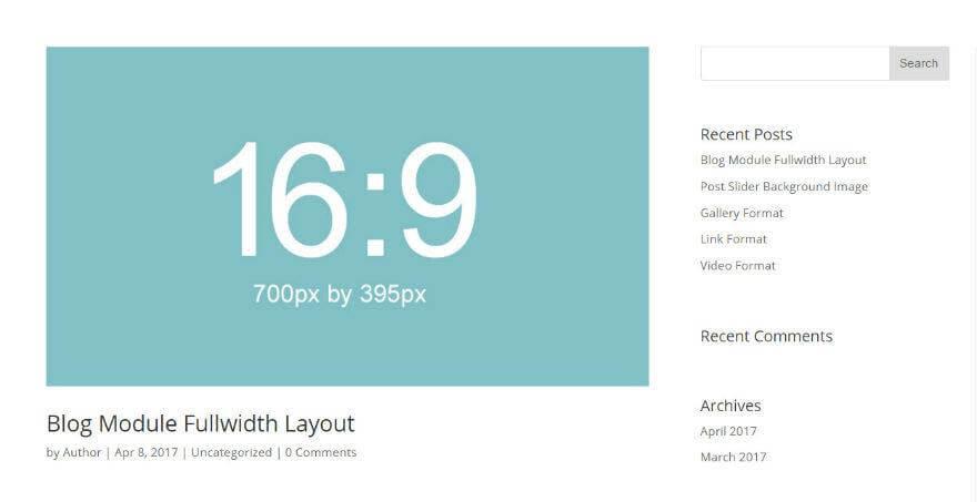 Blog modul kiemelt képek Képátméretezés Divi 17.